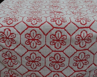 Red and White Snowflake Chenille Bedspread, Cotton