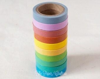 Mini Washi Tape Sticky Masking Candy Colours Craft Scrapbooking Gift Wrap - Set of 10