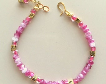 Pink and White Czech Glass and Crystal Beaded Bracelet with Brass Accents