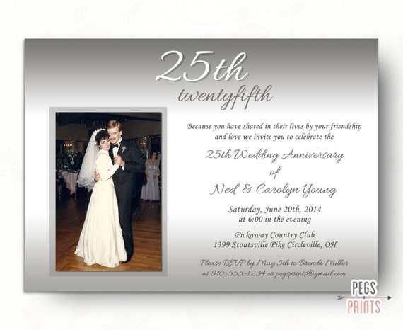 25th wedding anniversary invitations // silver wedding invitation, Wedding invitations