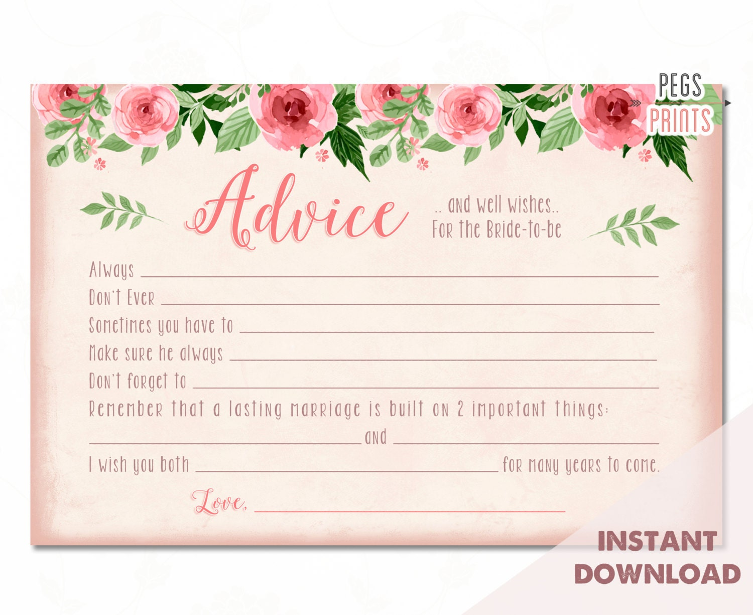 Bridal Advice Cards // Instant Download // Advice For The