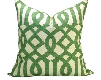 Pair of TWO Schumacher Imperial Trellis pillow cover in Treillage - seconds