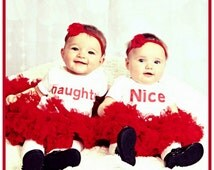 Twin Christmas Outfits, Funny Twin Clothes, Naughty and Nice Twin Christmas Shirts, Bodysuits, Matching Sibling Christmas Outfits, Liv & Co.