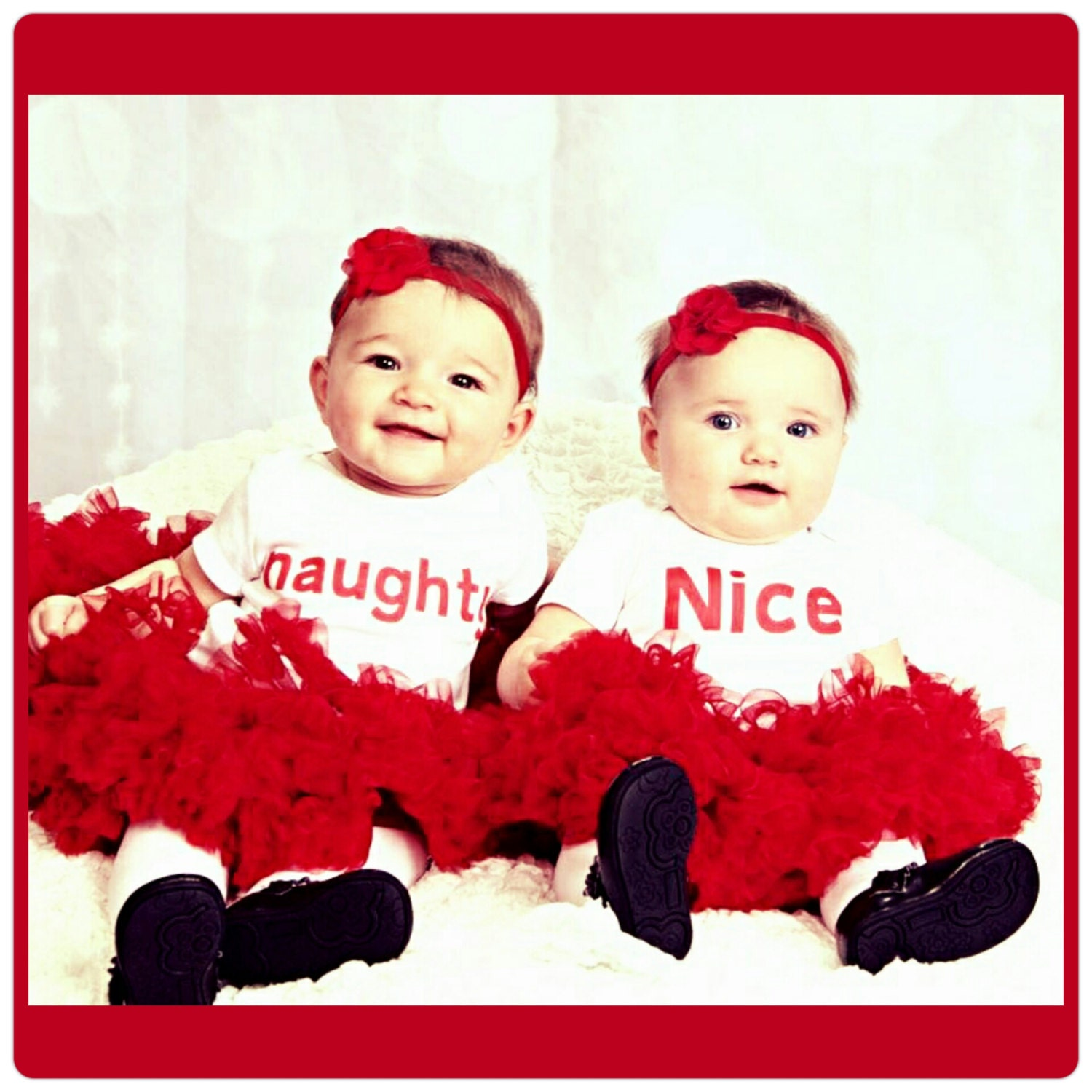 Twin Christmas Outfits Funny Twin Clothes Naughty And Nice