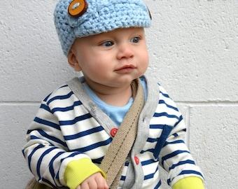 Newsboy hat - infant poor boy cap - crochet flat bill hat - organic cotton hat - newspaper boy hat - newsy