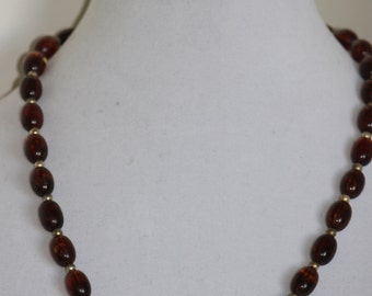 Classic Style Reddish Amber Colored Bead Necklace