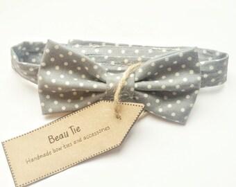 Baby boys bow tie, polka dot bow tie, grey bow tie, baby bow tie,