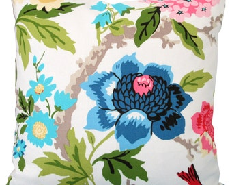 Decorative Pillow Cover-Pink,Yellow,Blue Floral Design-Throw Pillow-Asian-Toss Pillow-Pillow Cushion-18x18-20x20-22x22-Double Sided
