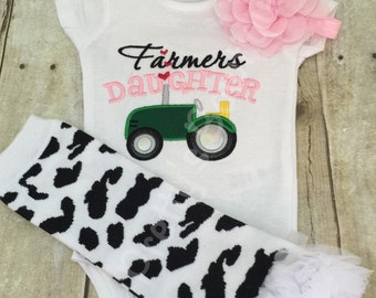 Baby Girl Outift -- Farmer's Daughter bodysuit or t shirt, headband, and legwarmers.  Can customize wording and colors