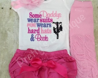 Some Daddys wear suits mine wears hard hats and boots poweline -- 4 pc set can customize colors