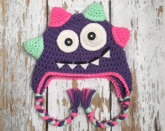Purple Crochet Monster hat 0-5T