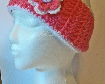 Trendy Pink and White Breast Cancer Awareness Hand Crocheted Headband Ear Warmer Child & Adult Sizes Available
