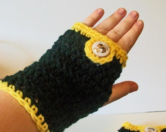 Trendy Black and Gold Yellow Jackets Hand Crocheted Fingerless Gloves 3 Sizes Available