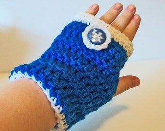 Fun Blue and White Wildcats Hand Crocheted Fingerless Gloves 3 Sizes Available