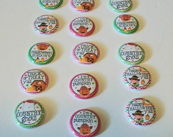 Set of 15 Happy Fall Ya'll Country Halloween 1 Inch Flat Back Embellishments Buttons Flair Great for Bow Making