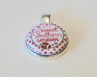 Cute Polka Dot Crimson and White Sweet Southern Saturdays Round Silver Pendant