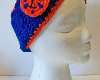 Trendy Orange and Blue Tigers Hand Crocheted Headband Ear Warmer Child & Adult Sizes Available