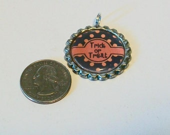 Halloween Fun Black and Orange Polka Dot Trick or Treat Flattened Bottlecap Pendant Necklace