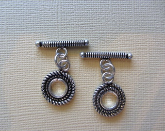 Silver Toggle Clasps set of 2