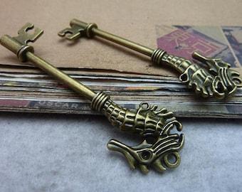 5pcs 20x70mm Cute Antique bronze Hippocampal Keys Charm Pendant