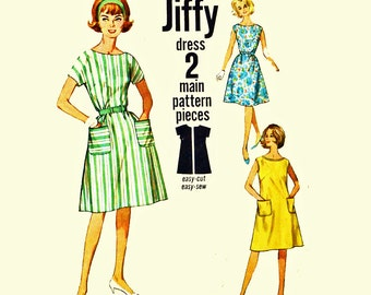 60s Dress Patterns / Simplicity 4977 Jiffy Dress Pattern Kimono Sleeve A Line Shift Dress 1960s Vintage Sewing Patterns for Women Bust 32