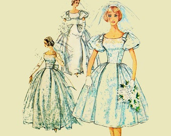 Vintage 50s Princess Wedding Dress Pattern / Bridesmaid Dress Pattern / Simplicity 3469 Bust 31.5 / Womens Vintage Sewing Patterns