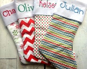 TRADITIONAL RANGE - Any FOUR Stockings From This Collection - Personalised - Choose your Font & Embroidery Colour - Proceeds to Charity