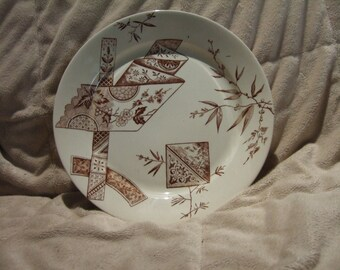 HALF PRICE SALE!!! Aesthetic Movement Japonesque Brown Transferware Plate