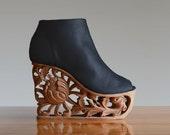 Chrysanthemum - Hand Carved Wood Platform Wedge Heel