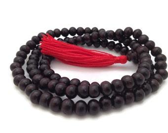 Tibetan Original Dark Rosewood 108 Beads Full Mala Necklace for Meditation and Yoga