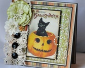A Merry Halloween Card, Greeting Card, 3D, Keepsake Card, Black Cat in Pumpkin