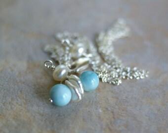 Larimar necklace, pearl necklace, larimar jewellery, larimar jewelry, larimar pearl wedding necklace, larimar gift for her, something blue