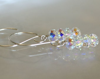 Swarovski Aurora Borealis crystal drop earrings, sterling silver ear wires, wedding jewelry, jewelry gift, gift for her, bridal earrings