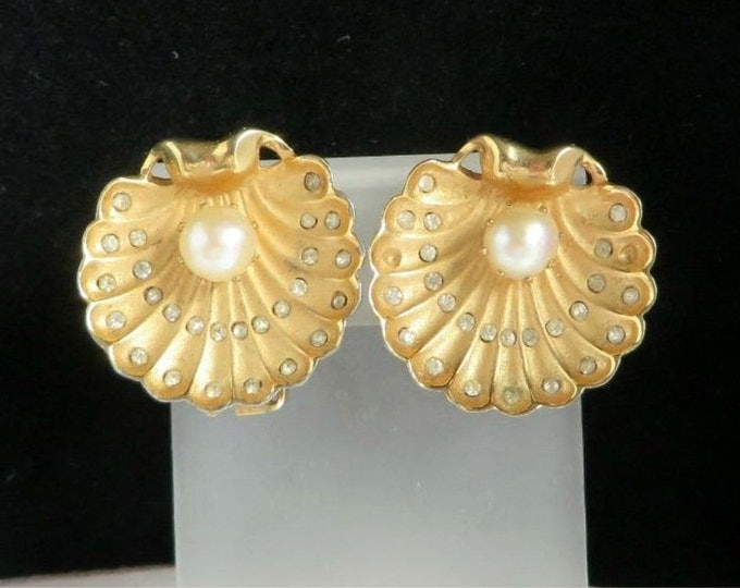 Oyster Shell Earrings Vintage Faux Pearl & Rhinestone Gold Tone Clip-ons, Gift Idea, Gift Box, FREE SHIPPING