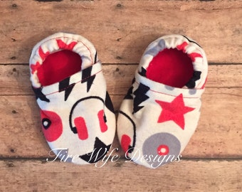 DJ/Rocker Soft Sole Baby Shoes, Crib Shoes, Baby Slippers, Baby Booties, Baby Mocs, Vegan Baby Shoes