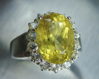 4.75cts Natural Heliodor Beryl golden yellow & white topaz 925 sterling Silver engagement ring all sizes