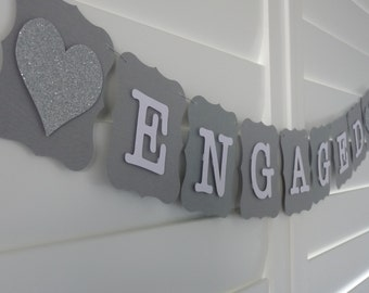 ENGAGED Banner Bunting Garland - Wedding Engagement Bridal Shower decoration