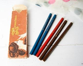 Vintage Soviet Era Five Cosmetic Color Pencils in Original Packaging. YCCP Slavjansk Pencils Factory