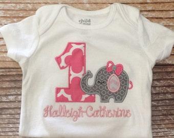 Elephant birthday appliquéd shirt