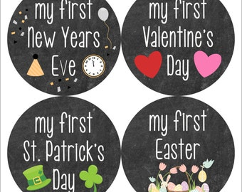 Baby Milestone Stickers Holiday Edition - Baby's First Holiday - Monthly Baby Stickers Boy - Baby Holiday Photo Prop - Baby's First Stickers