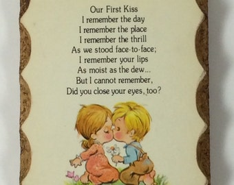 "Vintage Wooden Wall Plaque ""Our First Kiss"" Perfect Valentine's Day Gift"