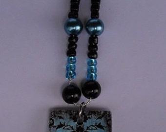 Turquoise & Black Damask Pendant Necklace