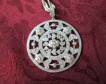 "Gorgeous Vintage Sterling Silver And CZ Pendant with Sterling Silver 30"" Chain"