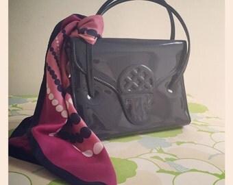 Sale* Retro 1960's Patent Kelly Bag - Navy Blue