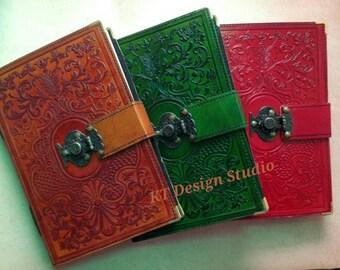 Handmade Leather Wedding guestbook /Journal/Sketchbook(Floral Pattern) Antique Brass Touch button