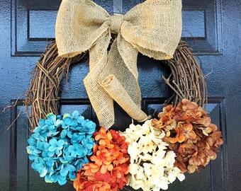 Fall wreath with hydrangeas, fall decor, fall door wreath, wreath fall door, autumn wreath, autumn decor