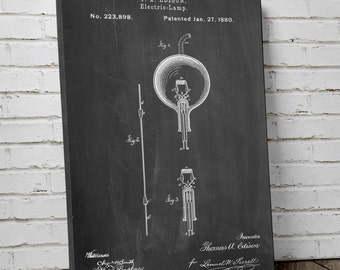 T. A. Edison Bulb Patent Canvas Art, Thomas Edison Lamp, Technology Art, Home Decor Wall Art, Canvas Wall Decor, PP0133