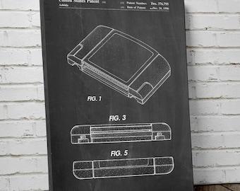 Nintendo 64 Game Cartridge Patent Canvas Art, Nintendo Canvas Art, Gamer Gift, Game Room Decor, Canvas Wall Decor, PP0451
