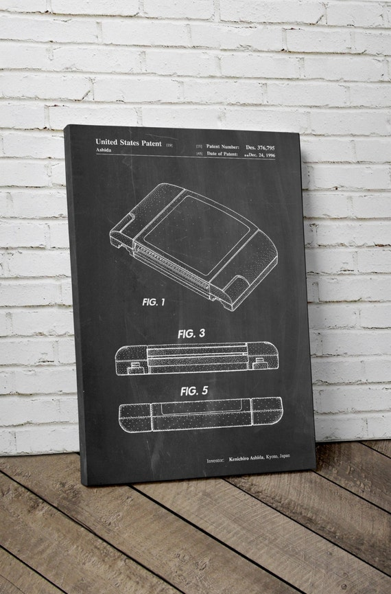 items similar to nintendo 64 game cartridge patent canvas art nintendo canvas art gamer gift. Black Bedroom Furniture Sets. Home Design Ideas