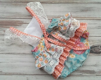 Ruffle Butt Bottom Romper Halter Top Style Sunsuit Sun Suit Floral Birthday OOAK custom summer
